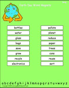 Earth Day vocabulary words, interactive word magnet game, vocabulary magnet games, arrange the magnets in alphabetical order   http://www.apples4theteacher.com/holidays/earth-day/printables/word-magnets.html