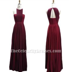 Burgundy Contrast Color Chiffon Prom Dress Prom Gowns Inspired by Blake Lively