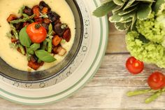 Polenta with Gruyere and Roasted Vegetables. Caramelised slow roasted veggies topped over cheesy & creamy polenta. A filling gluten-free option.