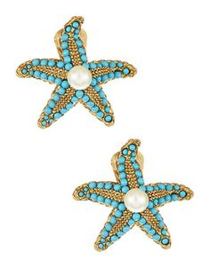 Kenneth Jay Lane starfish clip-ons