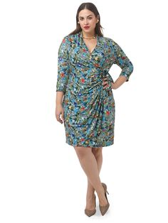 Retro Floral Faux Wrap Dress by Isabel + Alice,Available in sizes L-XL and 1X-5X