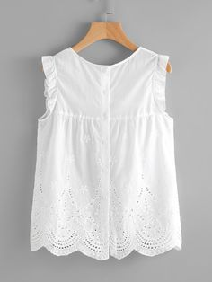Cheap Eyelet Embroidered Scallop Hem Frilled Shell Top for sale Australia Fall Outfits, Casual Outfits, Cute Outfits, Blouse Styles, Blouse Designs, Little Girl Dresses, Girls Dresses, Mode Grunge, Girl Fashion
