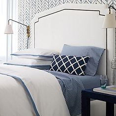 Bedding idea for twin guest bed. Border Frame Duvet & Shams – Chambray #serenaandlily