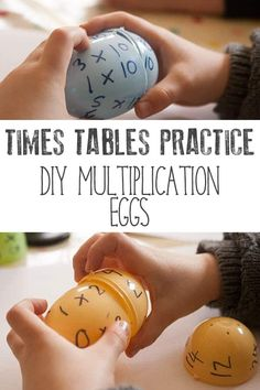 Hands-on times tables practice for kids - simple to set up and easy to reuse with different ages and times tables. Use up the excess plastic Easter eggs to create these simple DIY puzzles for working on multiplication with kids. Stem Activities, Educational Activities, Learning Activities, Activities For Kids, Times Tables Practice, Mental Calculation, Fun Math Games, Hands On Learning, Math For Kids