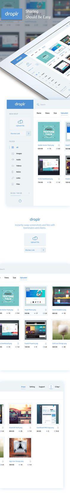 Droplr Dashboard on Behance