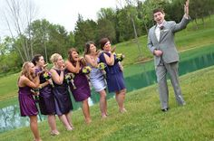 Bridesmaids blowing the groom kisses