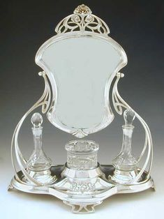 Art Nouveau Dressing Table Mirror Set, by WMF. ca.1906. Germany.