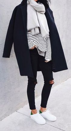 #fall #fashion / stripes + layers