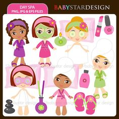 day-spa-clipart-set-instant-download