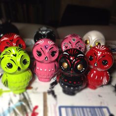 Day of the dead baby owls MADE TO ORDER by Dulcecalaveritas, $15.00