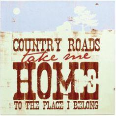 Demdaco Take Me Home, Country Roads Wall Art - Argos