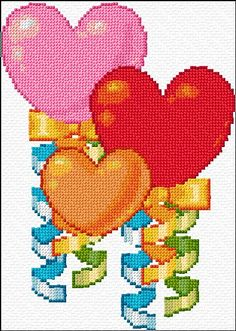heart balloons free cross stitch