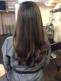 Brunette hair subtle highlights Asian hairstyle long length