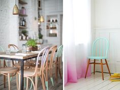 a pair and a spare // diy paint dipped chairs Painted Chairs, Painted Furniture, Dipped Furniture, Wooden Chairs, Interior Inspiration, Room Inspiration, Colour Inspiration, Furniture Makeover, Home Furniture