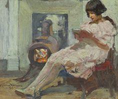Cipriano Mannucci ~ Girl Reading, 1919 ~ (Italian: 1882-1970)
