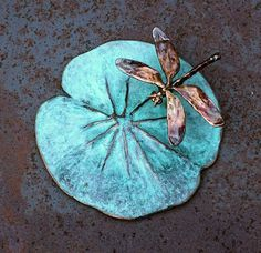 Dragonfly on Lilypad sculpture @ Earthlycreature on Etsy