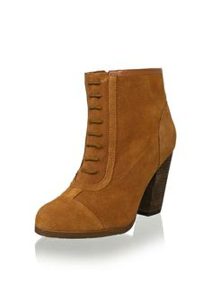 """Kelsi Dagger Women's Jadore High Heel Ankle Boot in cognac Victorian style faux lace-up boot with side zip and grippy outsole Approximate measurements: heel 4"""" Shaft height from arch 5.5"""", Boot opening 12"""" around"""