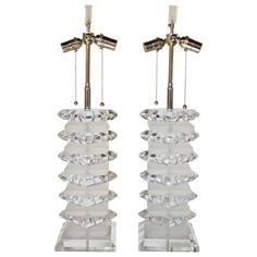 Pair of Stacked Lucite Lamps | From a unique collection of antique and modern table lamps at https://www.1stdibs.com/furniture/lighting/table-lamps/