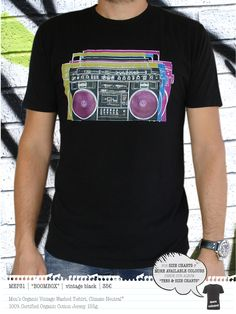 BOOMBOX Men's t-shirt Neutral Colors, Colours, Concept Clothing, Boombox, Vintage Black, Organic Cotton, Size Chart, Mens Tops, T Shirt