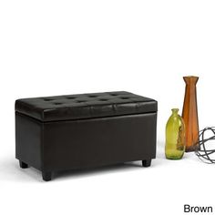 Brown Essex Faux Leather Storage Ottoman Bench Double Duty Seat & Organizer New #WYNDENHALL #Contemporary