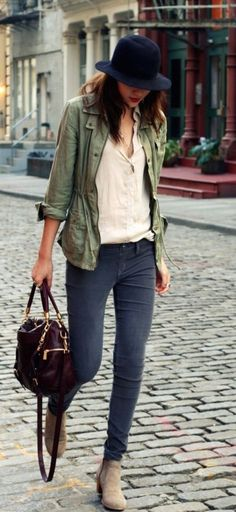 #street #style / green jacket + denim
