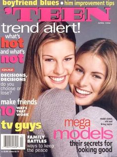 April 1994 cover with the late fifteen-year-old Krissy Taylor & her older sister nineteen-year-old Niki Taylor Erin Taylor, Celebrity Siblings, 90s Models, Valley Girls, Seventeen Magazine, 80s Kids, Covergirl, Supermodels, Celebrities