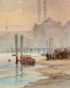 Artist: David Howell, PRSMA; Painting: The Thames at Chelsea