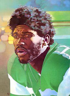 Wesley Walker, NY Jets Wide Receiver. Portrait by Alain Moreau 1980.