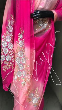 Shiffon Saree, Embroidered Blouse, Blouse Designs, Sarees, Chiffon, Fashion Outfits, Embroidery, Bride, Clothes