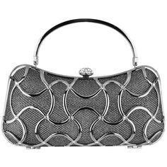 39c87ad19b8 Metallic Grey Exotic Bean-shape Abstract Metallic Interwoven Rhinestone  Clasp Hard Case Box Clutch Baguette Evening Bag Purse Minaudiere w Hidden  Handle
