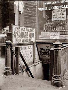 5 cent restaurant in New York's Bowery circa 1910.