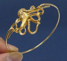 18K Gold Plated bangle Octopus Bracelet Simple by artstudio88