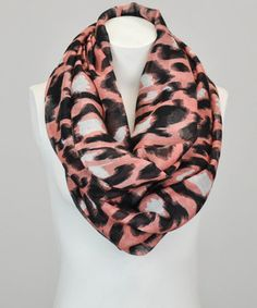 Another great find on #zulily! Leto Collection Coral & White Leopard Infinity Scarf by Leto Collection #zulilyfinds