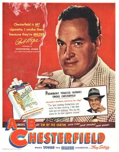 Items similar to 1949 Chesterfield Cigarettes Ad Bob Hope Movie Star Photo Vintage Tobacco Advertising Old Hollywood Art Print Bar Wall Decor on Etsy Chesterfield Cigarettes, Vintage Cigarette Ads, Luhan, Pub Vintage, Vintage Antiques, Bob Hope, Old Advertisements, Retro Ads, Retro Food