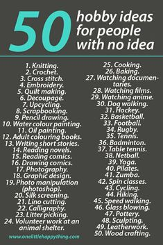 50 hobby ideas for people who have no idea. - One Little hobby ideas for people who have no idea. – One Little Happy Thing List of 50 hobby ideas for people with no idea - and hobbies list Easy Hobbies, Hobbies For Adults, Hobbies For Women, Cheap Hobbies, Hobbies To Try, Hobbies That Make Money, Hobbies And Interests, Hobbies And Crafts, Hobbies List Of