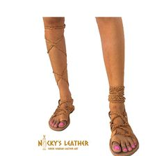 LEATHER SANDALS GLADIATOR Lace Up Style 100 %Full Grain Leather by NickysLeather