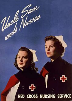 RED CROSS NURSE CLOAKS RECRUITMENT AD WW2 NEW POSTER AMERICAN WWII PRINT 1509