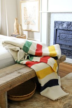The iconic Hudson Bay Point Blanket. I have this blanket. Hudson Bay Blanket, Bay Point, Warm Blankets, Indian Blankets, Knitted Blankets, Home And Deco, My Living Room, Living Room Throws, Living Spaces