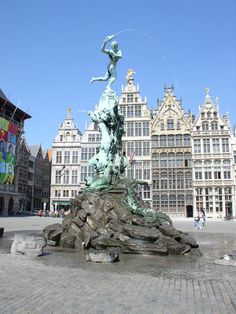 Fountain statue of Antwerp's symbol, the throwing of a hand #belgium