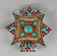 Tibetan+Silver+Gau+Pendant+w+Gold+Plated+and+Turquoise+USA+SELLER+