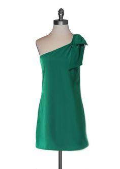 Shoulder Bow Dress in Kelly Green