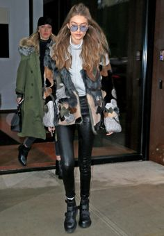Gigi Hadid in the most amazing fur jacket.