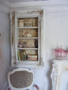 Miniature shabby chic framed shelves by shabbychicminis on Etsy