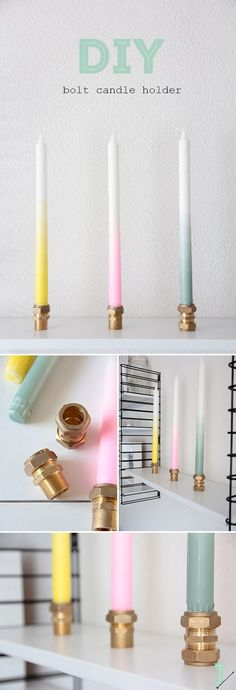 DIY: bolts candle holders