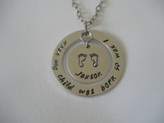 New Mom Necklace When My Child Was Born So Was I Hand Stamped Necklace Personalized Necklace Baby Feet Necklace by TheVerseWithin on Etsy