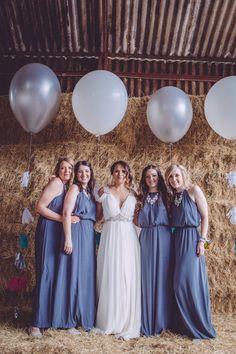 Elegant but still comfortable bridesmaid style.   Powder Blue H&M Bridesmaids Dresses Owen House Rustic Barn Wedding   Kate Scott Photography   http://www.rockmywedding.co.uk/suze-jon/