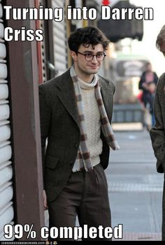 Transformation Nearly Complete  - Daniel Radcliffe is Darren Criss? I wish his hair was like this in the films!!