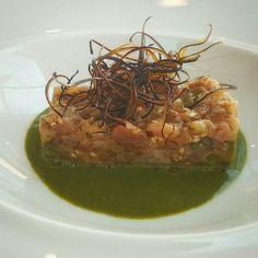 Grouper tartar,soya,herbs emulsion,eggplant skin