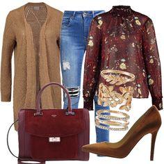 Amate anche voi i colori autunnali? Look con tacco alto a stiletto, composto da jeans, camicia in fantasia floral e maxi cardigan, da utlizzare anche ora che non è così freddo. Volendo in inverno basta aggiungere un cappottino kimono. Borsa Guess.