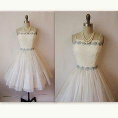 50's Wedding Dress // Vintage 1950's White Chiffon Wedding dress